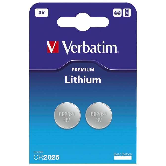 Baterija litij dugmasta 3V pk2 CR2025 Verbatim 49935 blister (000021648)